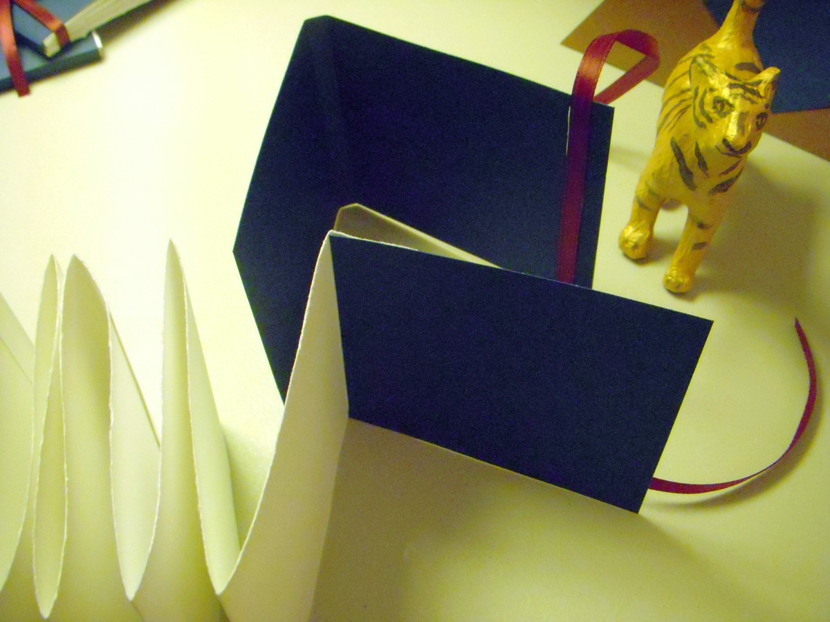 Top view - the pages of the book will be attached with the short tab close to the spine.