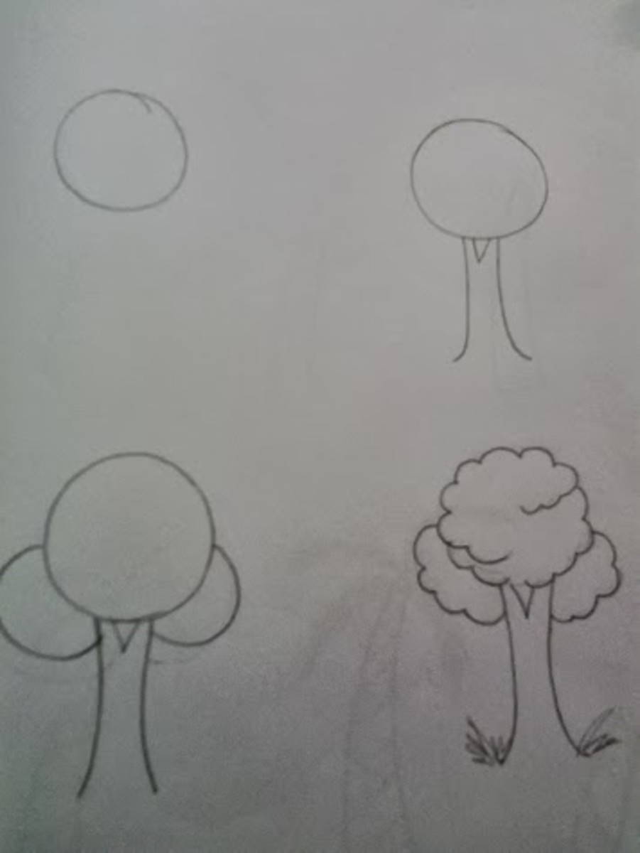 how to draw trees step by step instructions