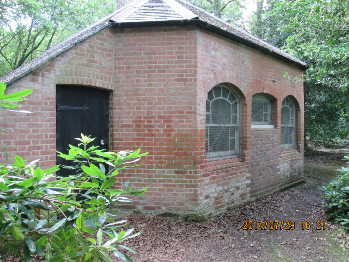 'Ours is an ice house, ours is!'  Set back from the road through the woods is this, just past the King's Oak and a smallholding. Looks like Victorian. Ice houses were usually built on the estates of well-to-do families before fridges came about