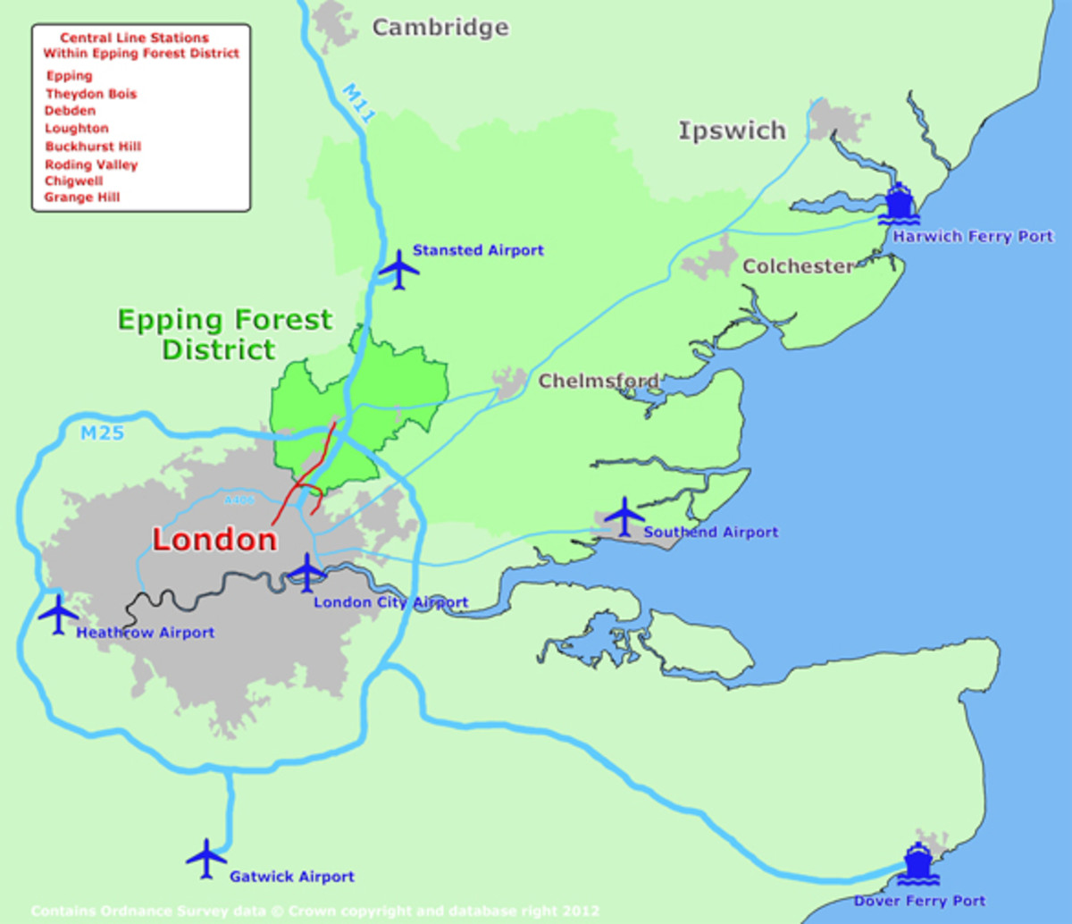 London, the south-east and the Epping Forest area in darker green to the north of the metropolis