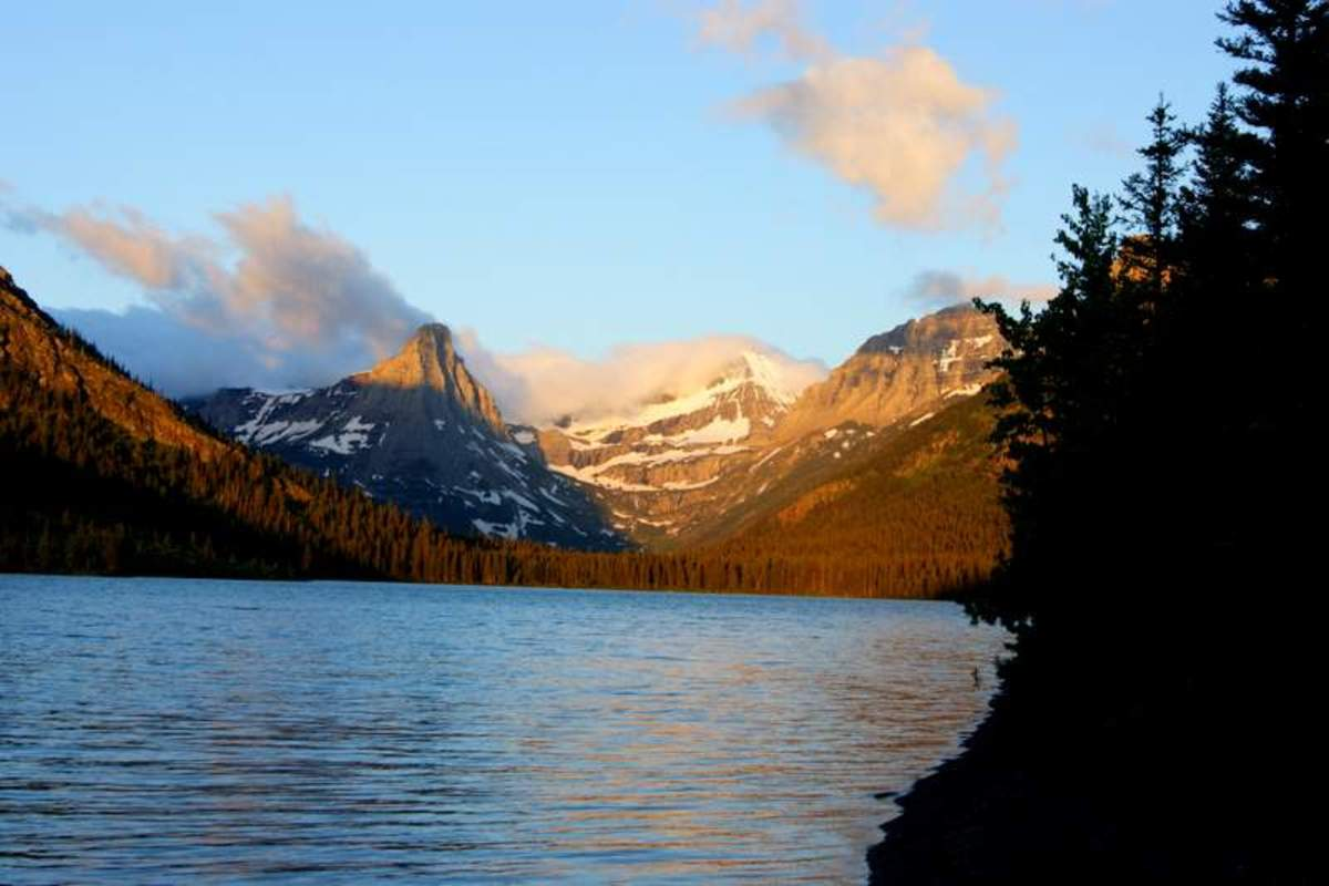 Mountain seen from my campsite on Cosley Lake, Glacier National Park, Montana