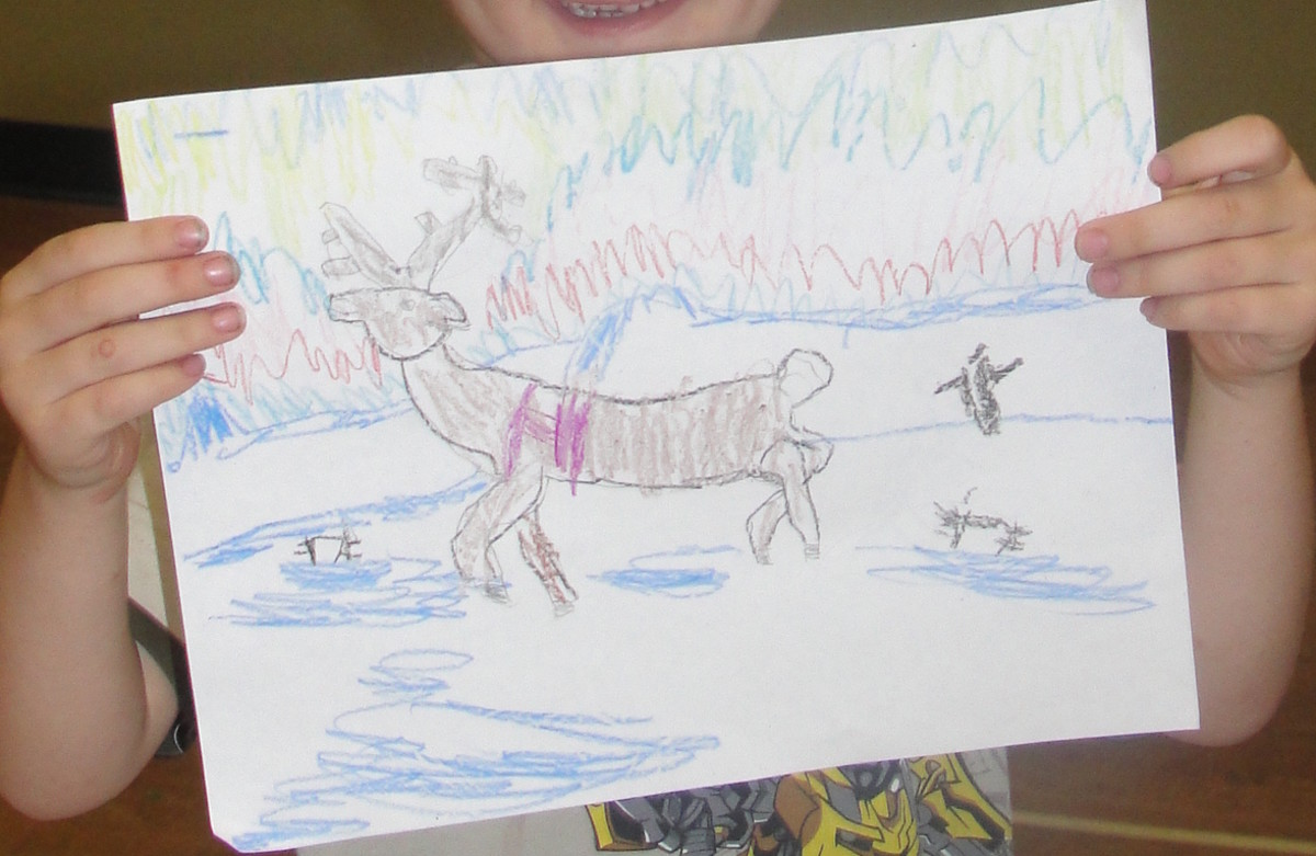 My four year old son's drawing of the caribou/reindeer.