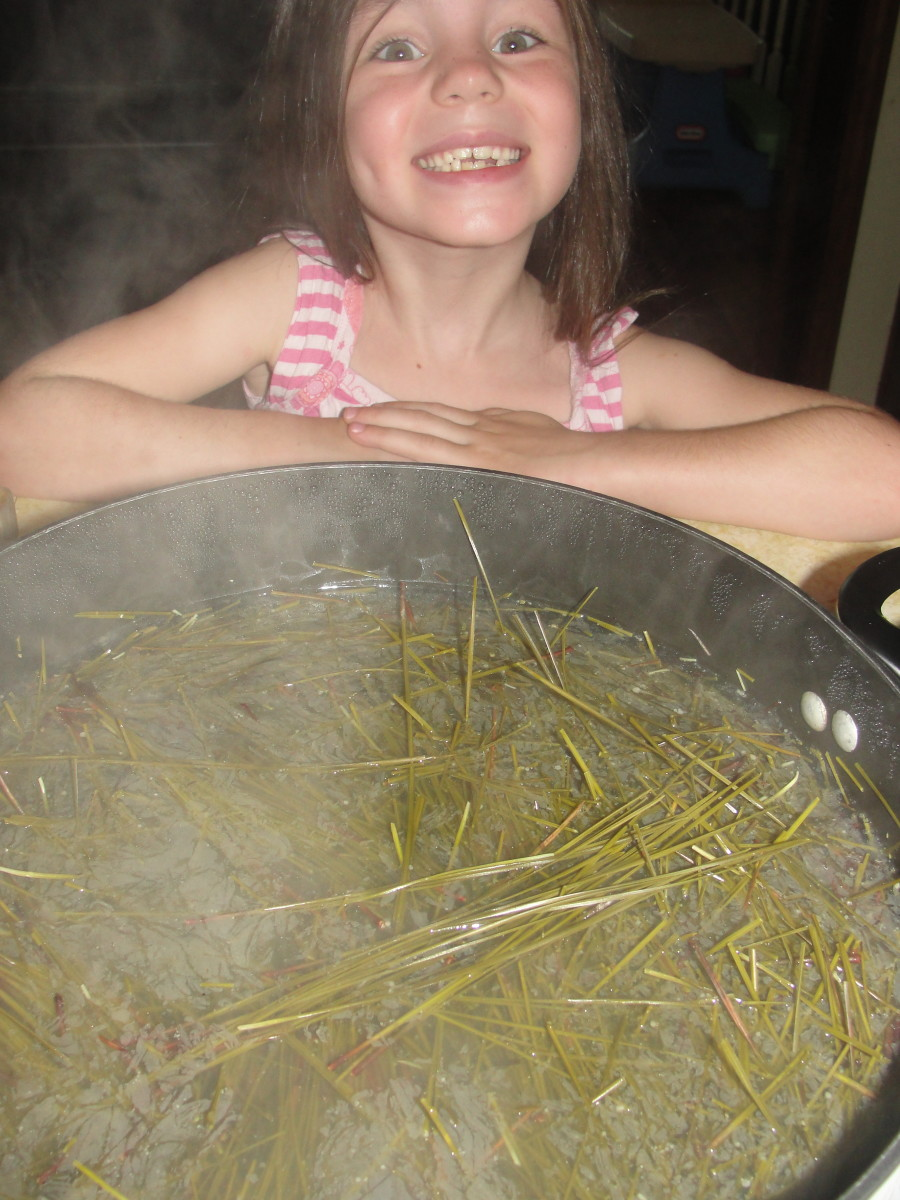 Pine needle tea simmering * My children LOVED the pine needle tea and continue to request it.