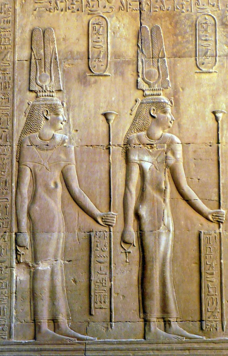 Cleopatra III (left) and Cleopatra II (right), (Kom Ombo Temple, Egypt)