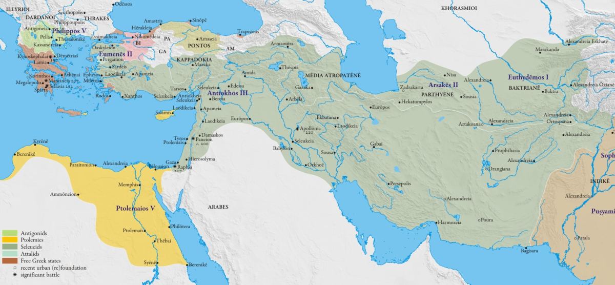Ptolemaic (in yellow) and Seleucid (in green) kingdoms, during the reigh of Ptolemy V and Antiochus III at approx. 195 BC