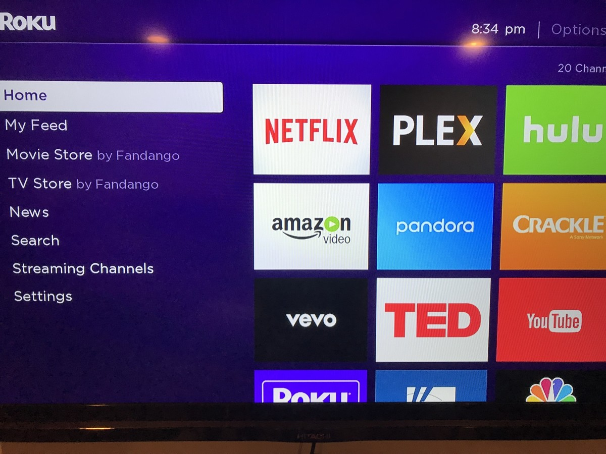 """Press the """"Home"""" button on your Roku remote to navigate to your Roku home screen if you aren't there already."""