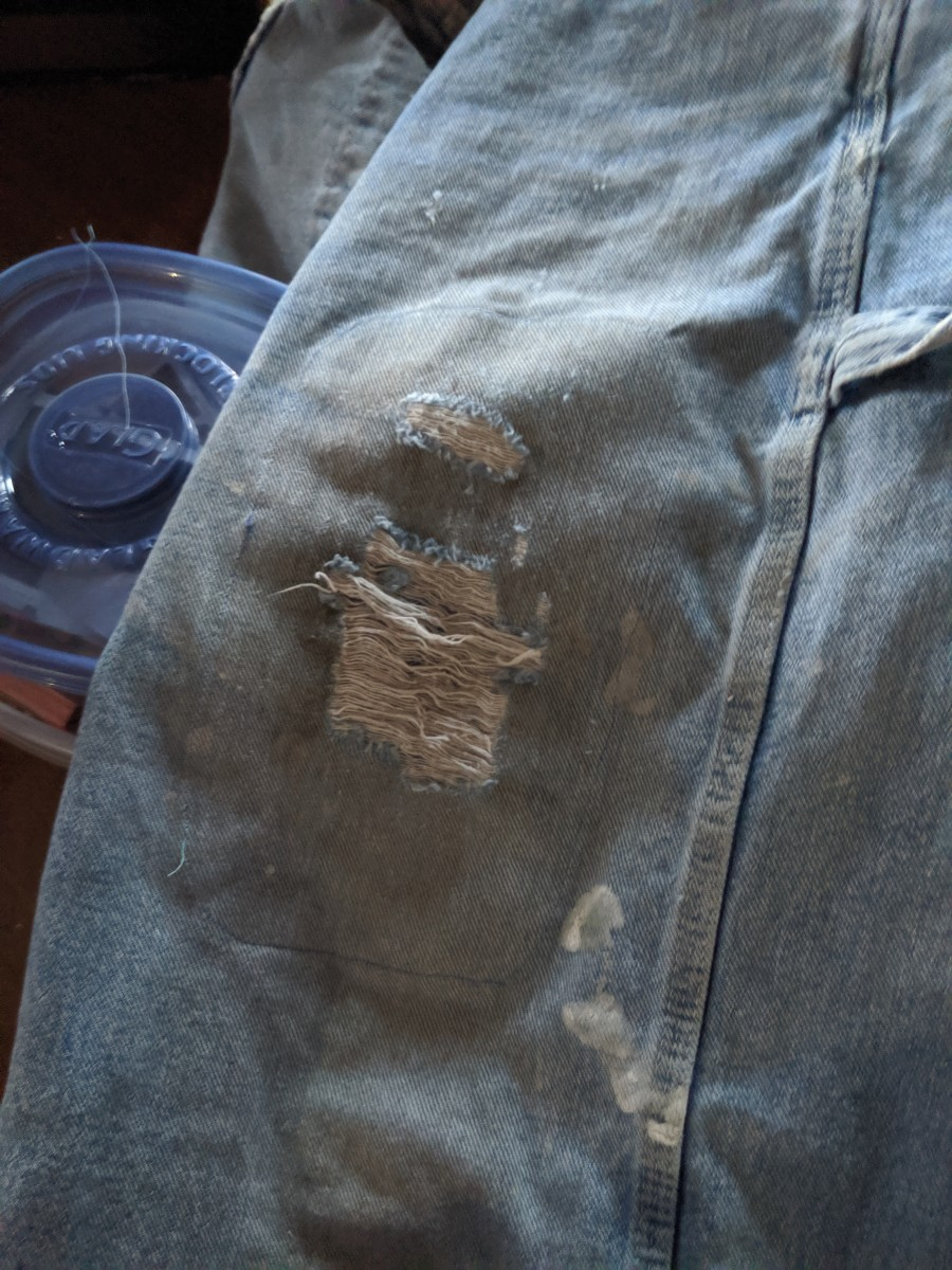 Denim Repair - Patching a Hole in Bib Overalls