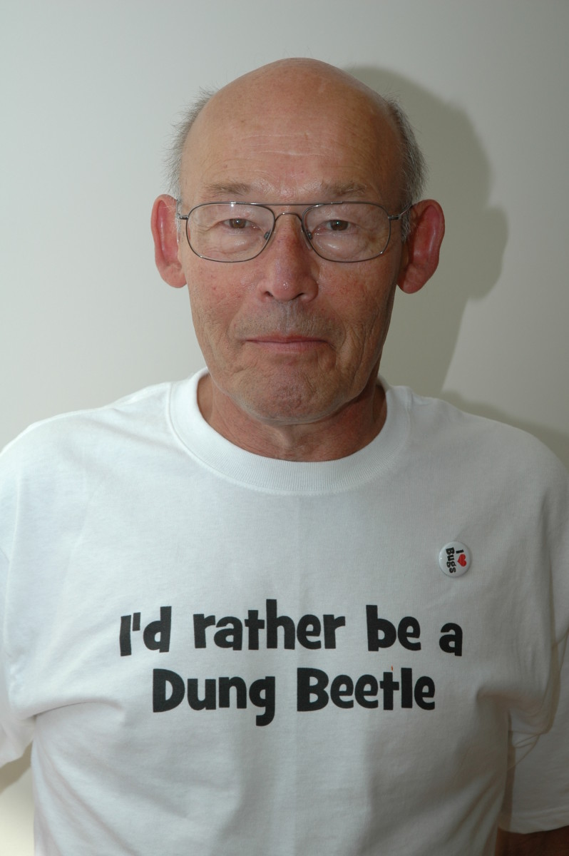 Grandpa wore a bug-themed t-shirt!