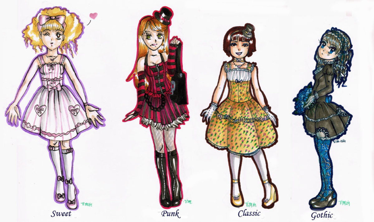 Four primary types of Lolita fashion. Illustration by author, VM.