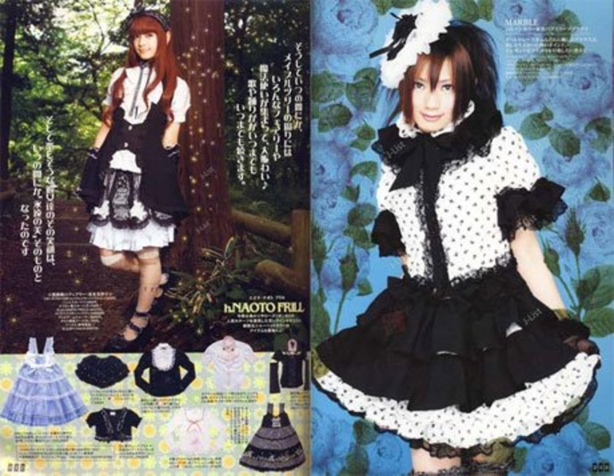 A scan of Gothic Lolitas from the Gothic & Lolita Bible. Picture courtesy of japanesestreets.com.