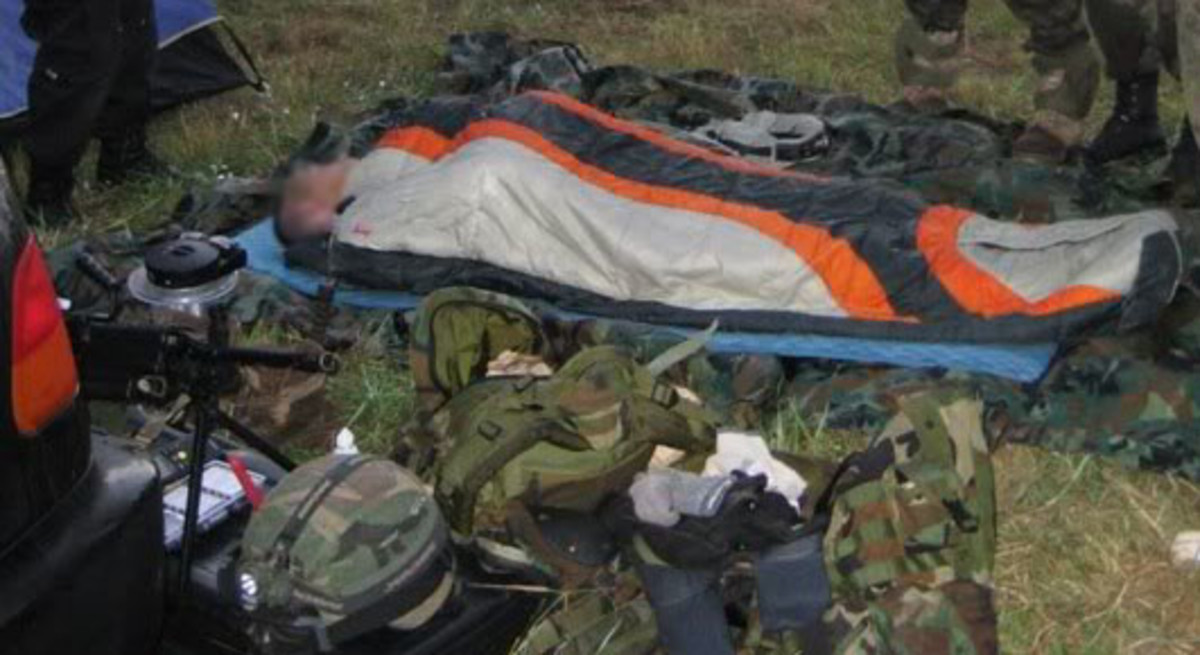 Sleeping next to your gear on an airsoft field