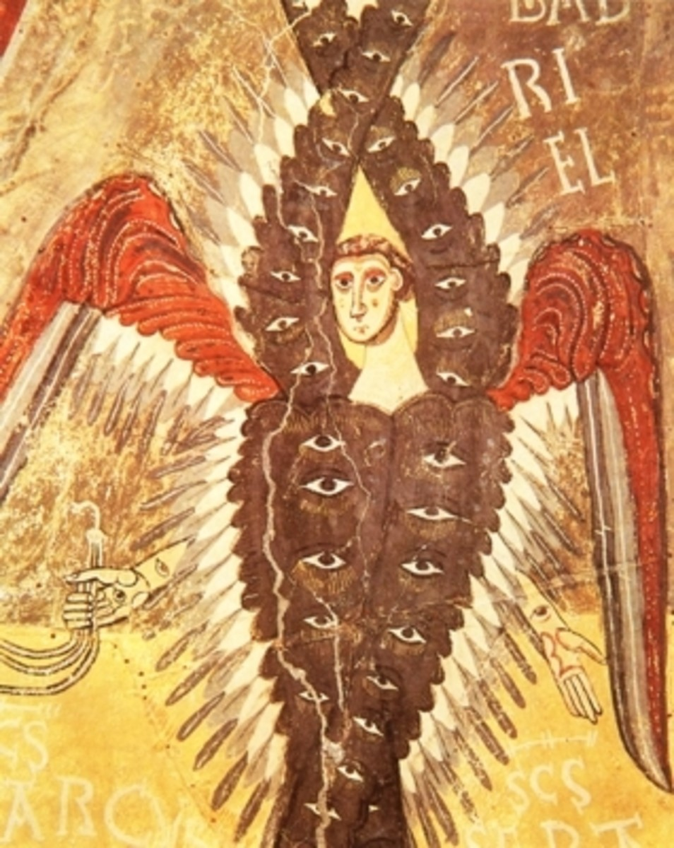 Also identified as a seraph, from a medieval manuscript (wikimedia commons)