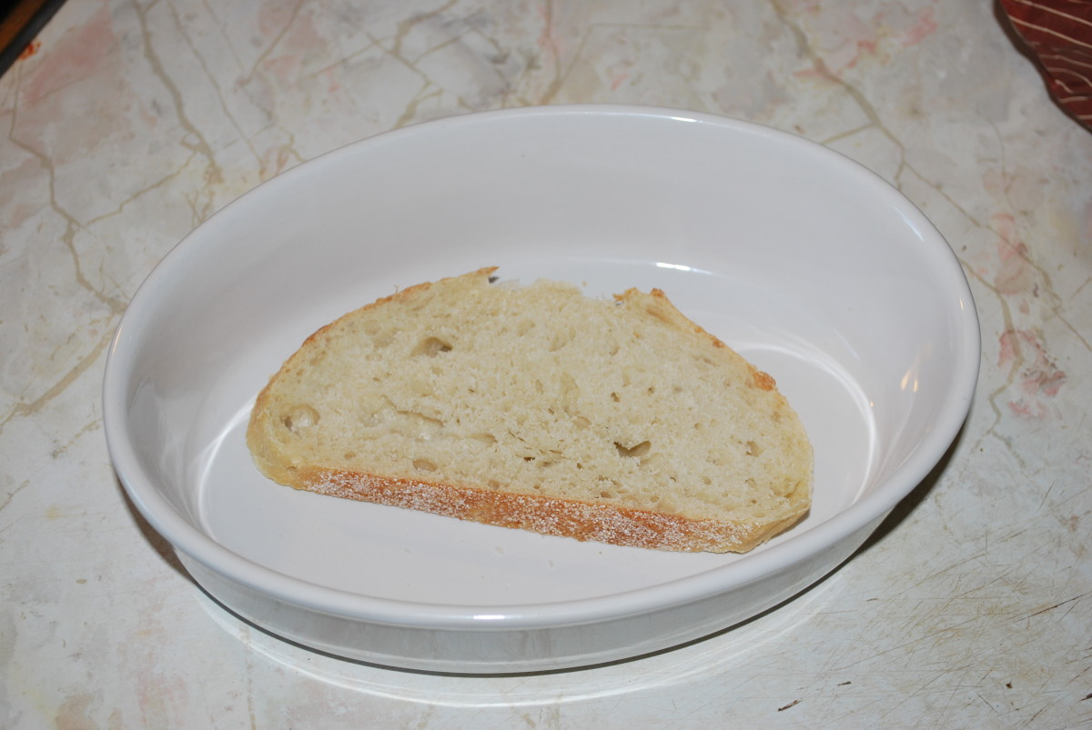 Bread in individual baking dish