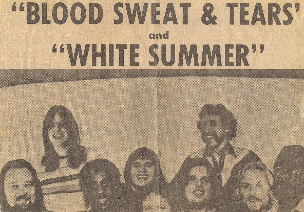 NEWSPAPER ADVERTISEMENT FOR MY BAND WHITE SUMMER APPEARING IN CONCERT AT THE HOUSE OF DAVID BEER GARDENS WITH BLOOD, SWEAT & TEARS (5500 ATTENDED)