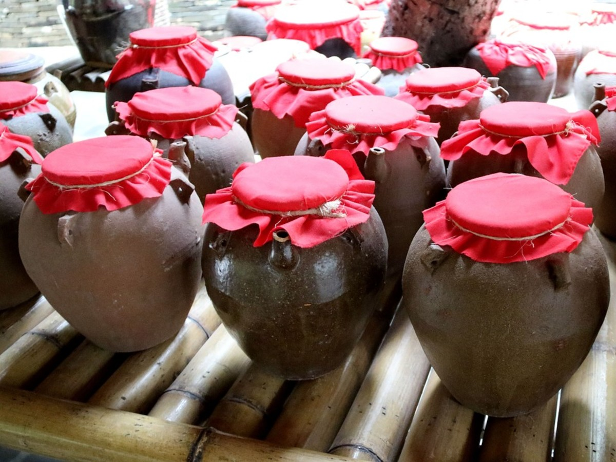 Chinese jars of wine.