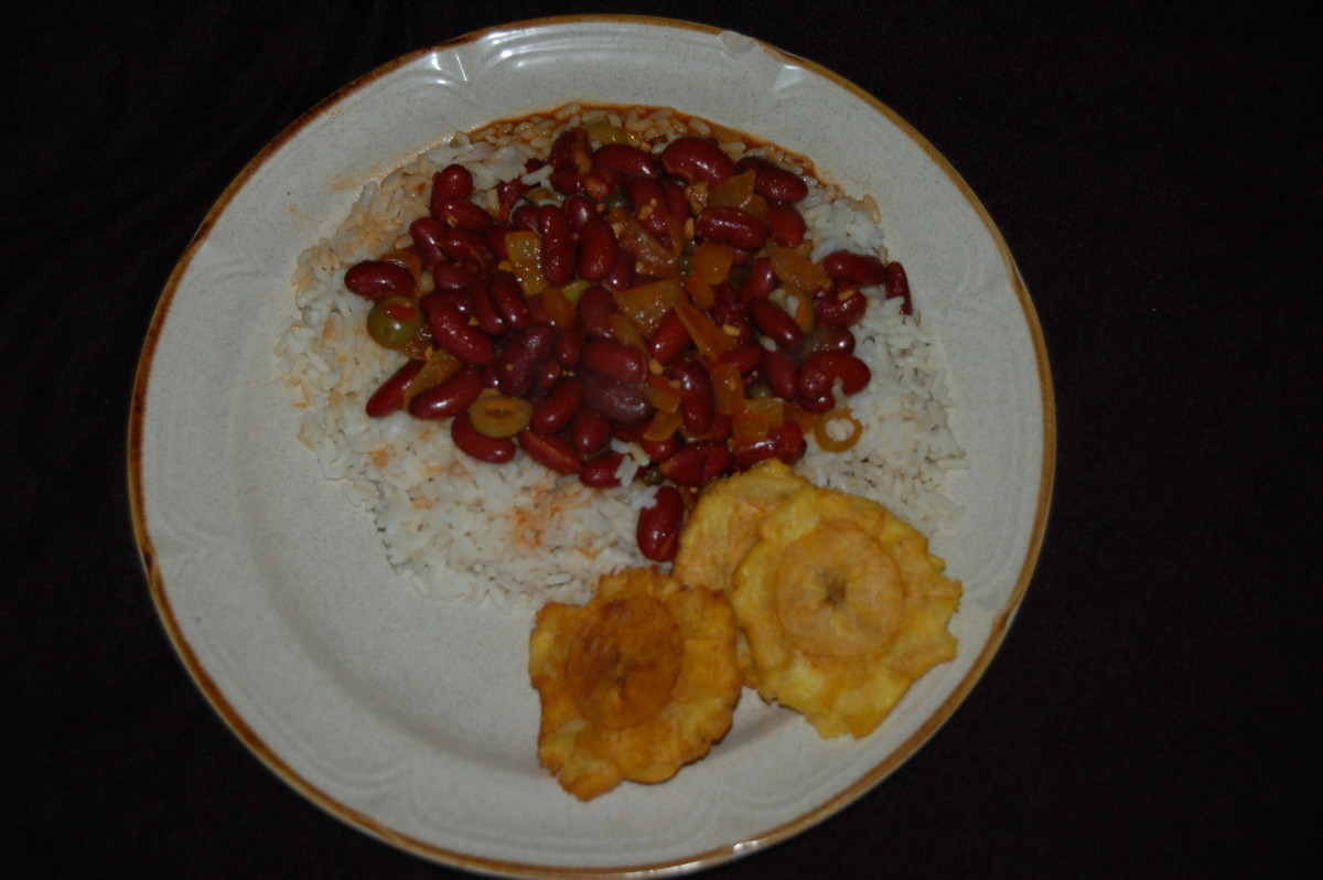 Red Beans & Rice served Vegetarian style with tostones (4 great puerto Rican Appetizers) has the recipe!