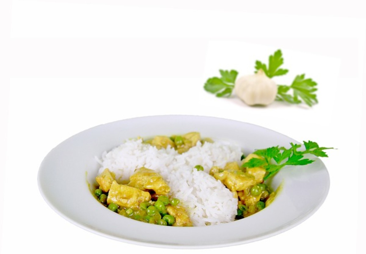 Cilantro garnish to curry.