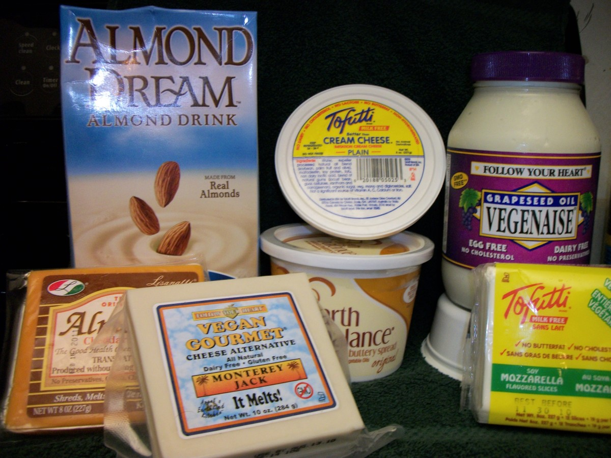 "Dairy Substitutes.  The ""cheddar"" Almond Cheese has milk casein, and is therefore not vegan or casein free.  Read your labels!  Personal Photo."