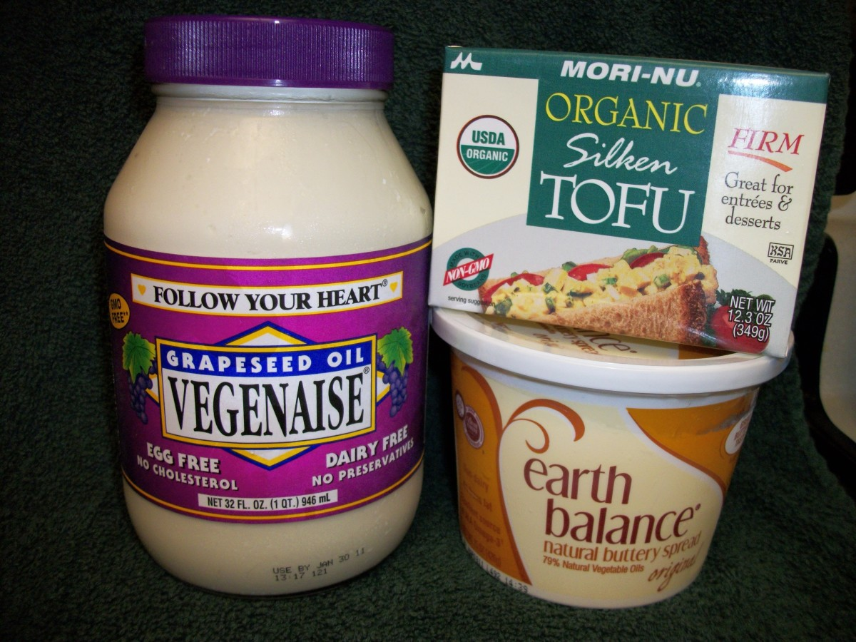 Egg Free Mayo, Soft Tofu for Egg Substitute, Butter Substitute.  Personal Photo.