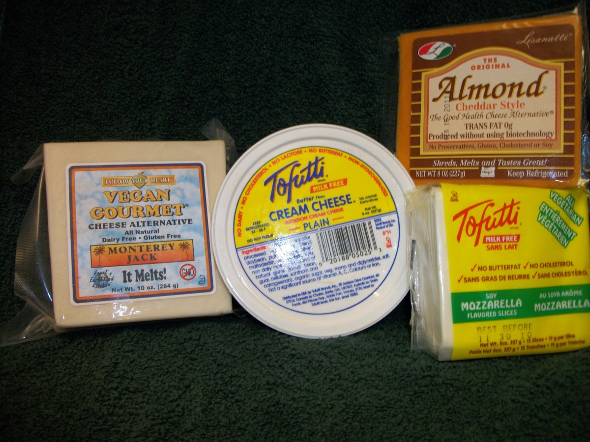 "Cheese Substitutes.  The ""cheddar"" Almond Cheese has milk casein, and is therefore not vegan or casein free.  Personal Photo."