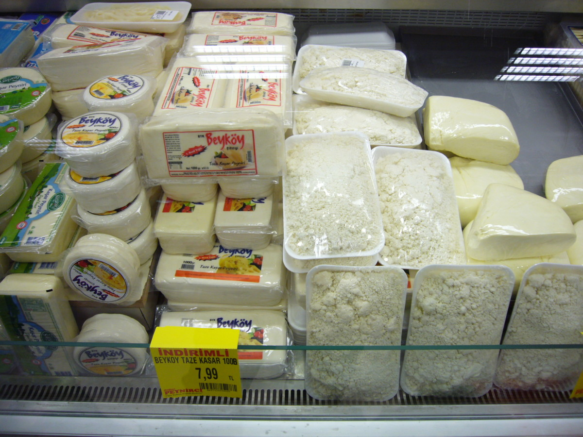 Different varieties of locally-made Turkish cheeses sold in supermarkets.