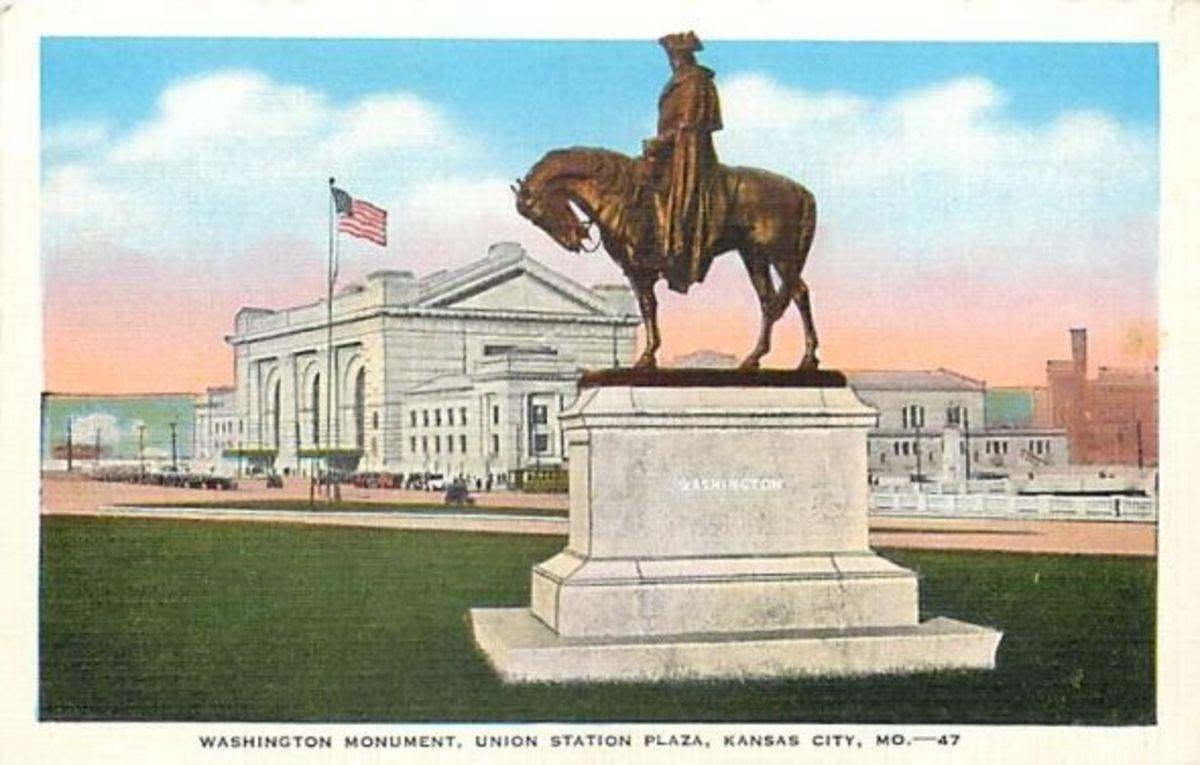 Washington Monument Union Station Plaza postcard