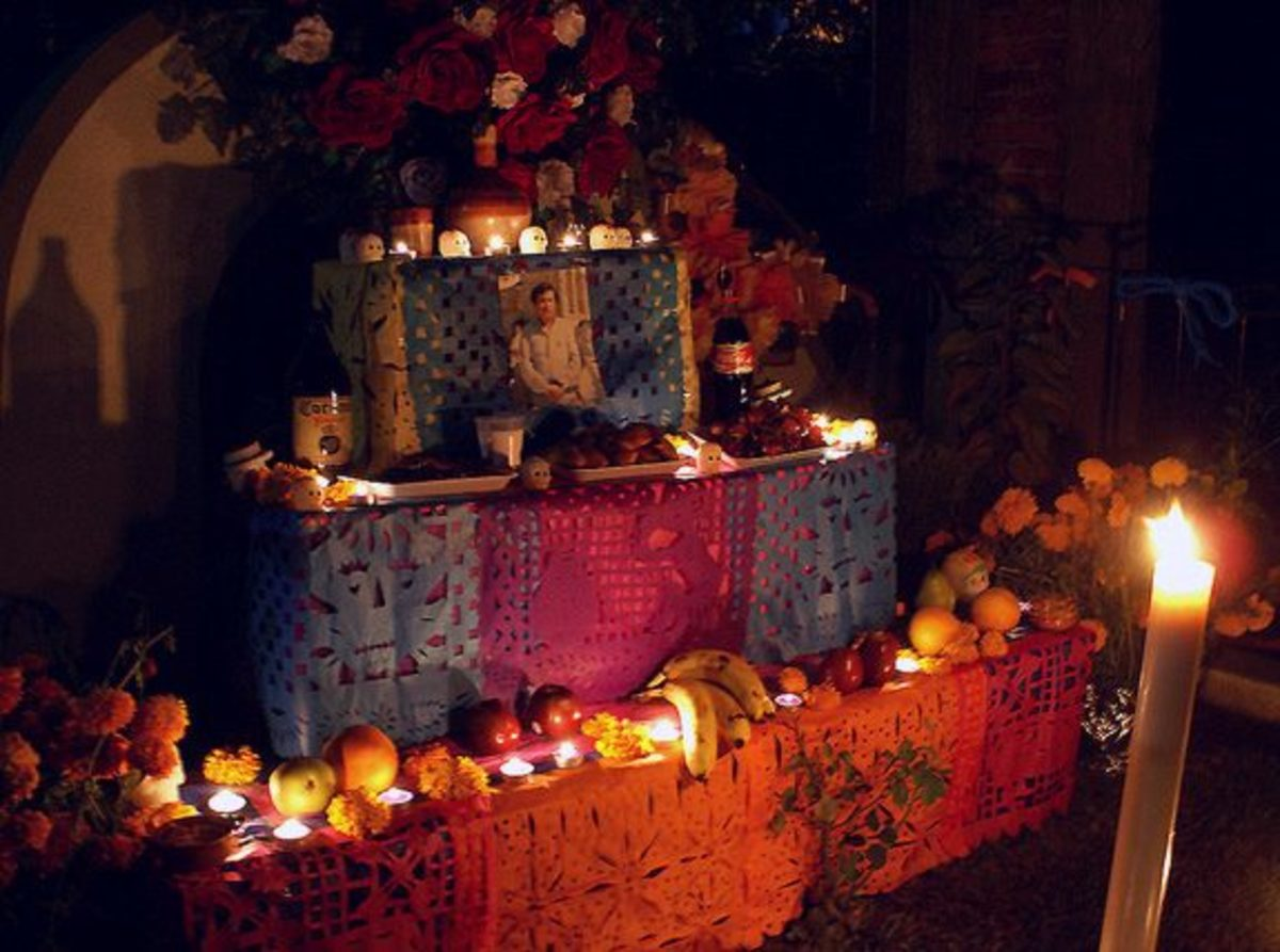 Beautifully decorated altar (ofrenda)