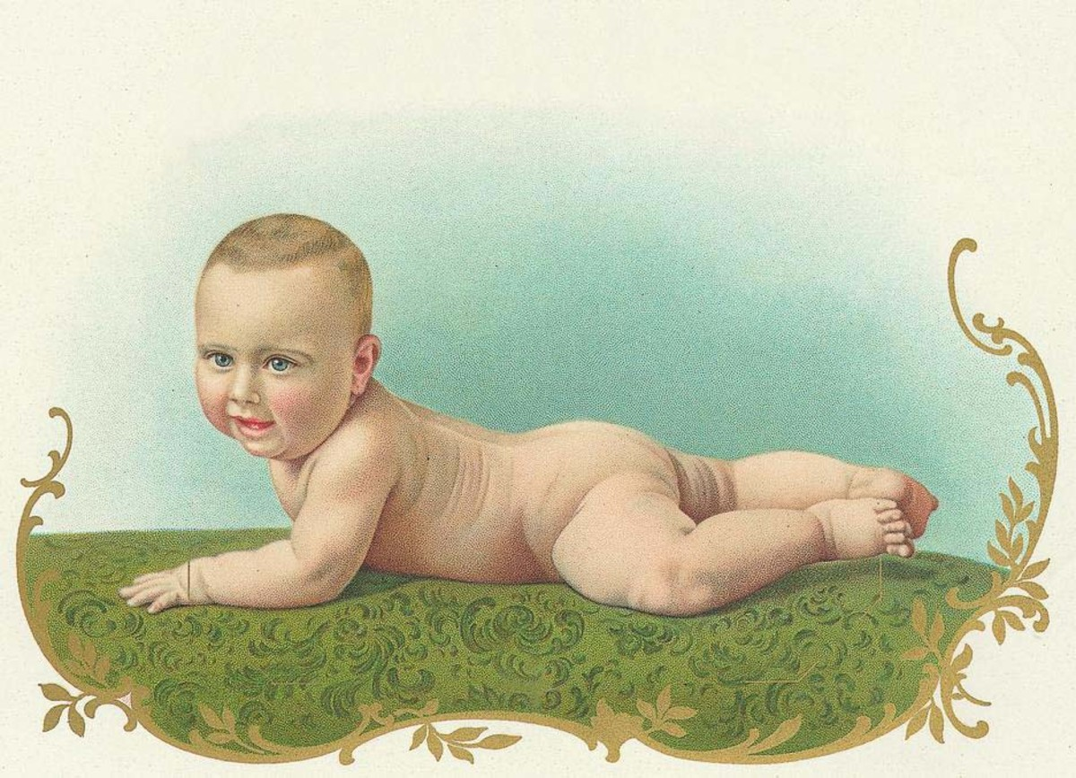 Naked baby vintage Mother's Day card