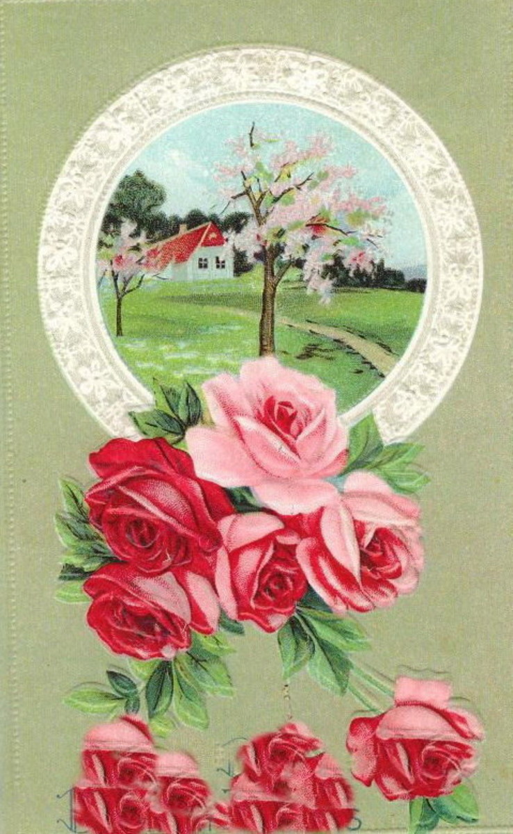 Red and pink roses and country scene