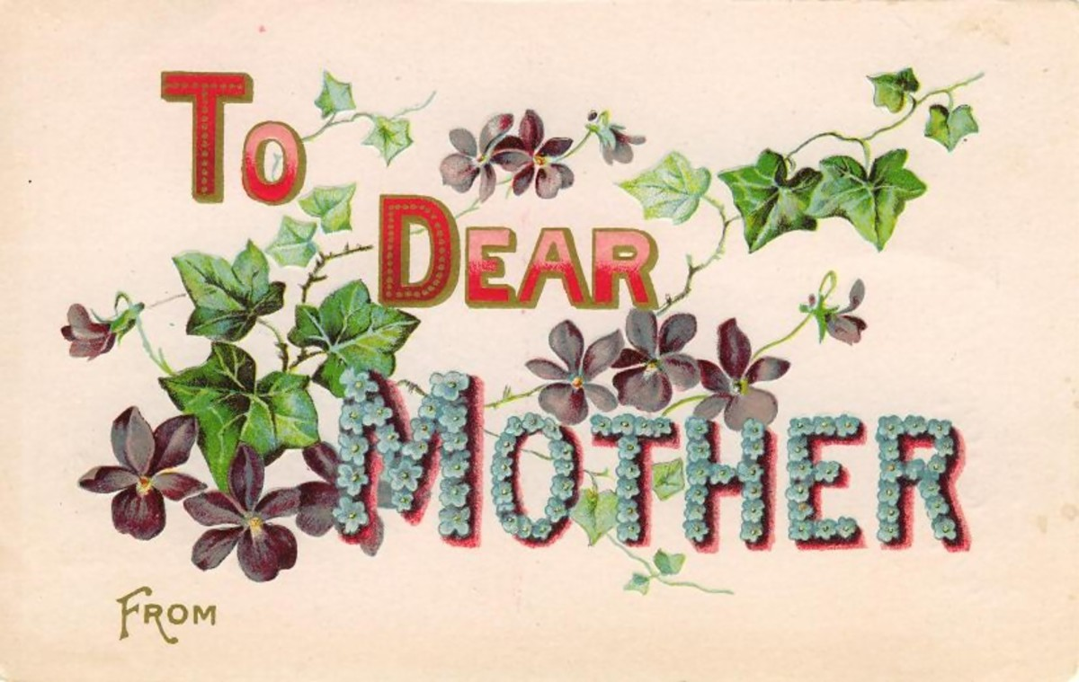 "Vintage Mother's Day card: ""To Dear Mother"" with flowers"