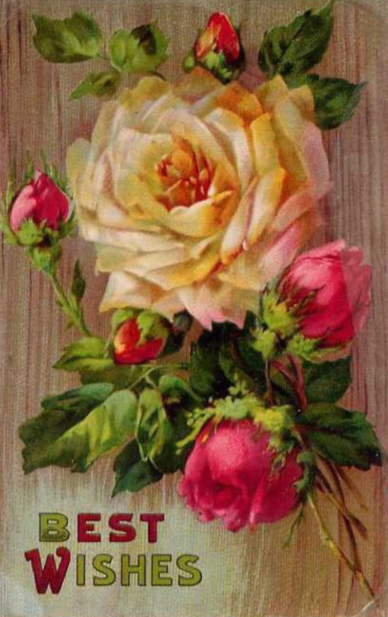 Vintage Mother's Day card: Yellow and pink roses on a wood background