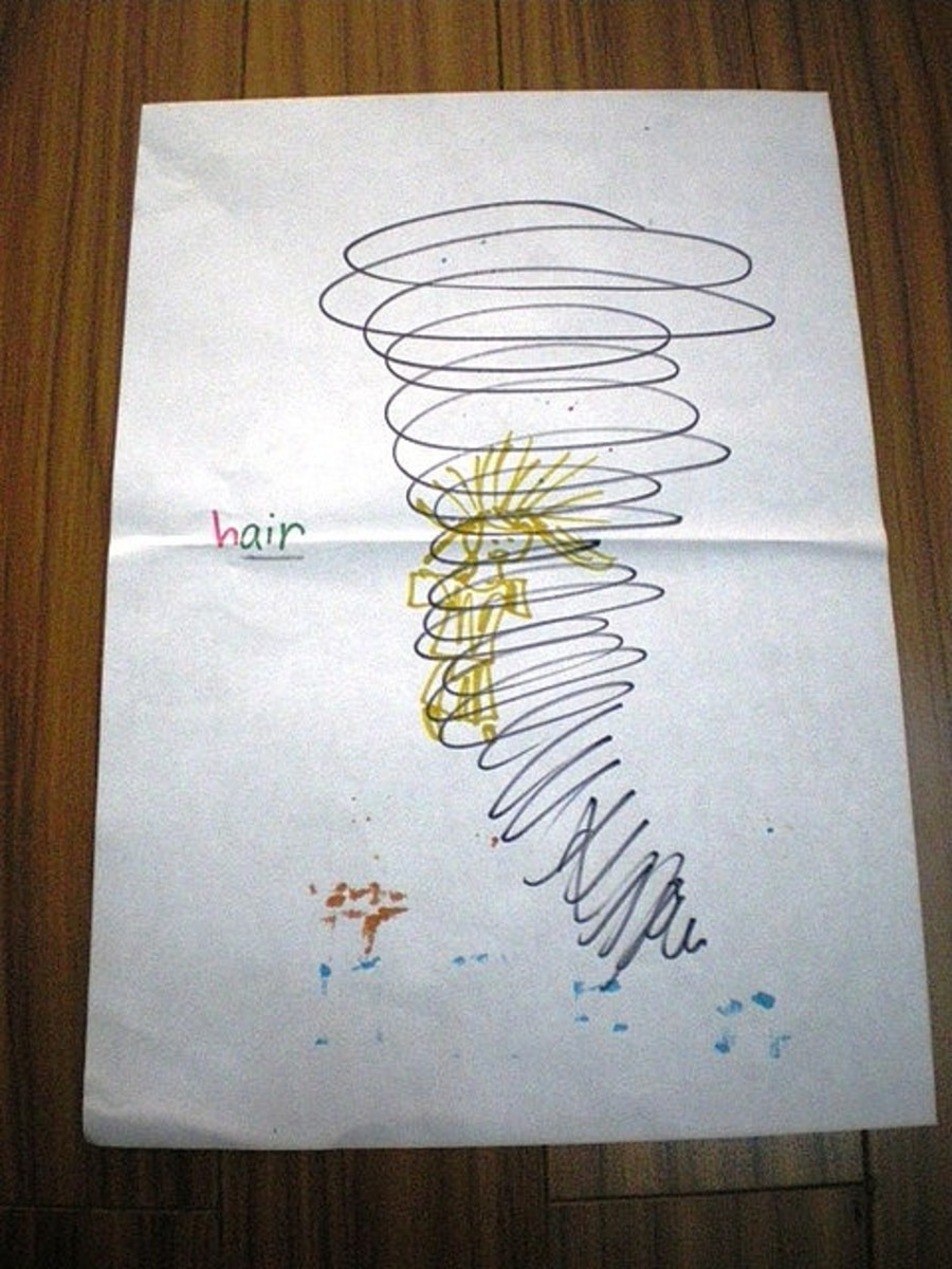 Spelling art: How to spell HAIR = Air is inside hair. Girl with long blonde HAIR spinning around in a huge tube of AIR (tornado).