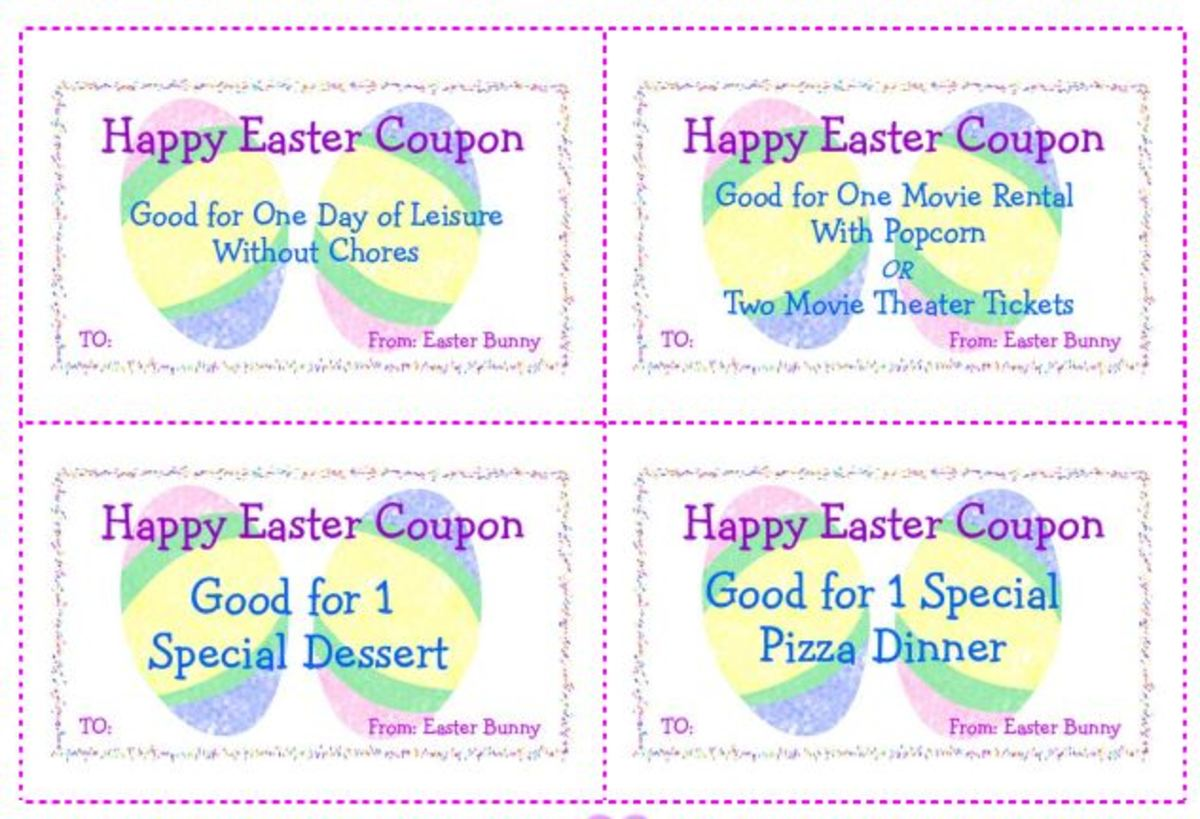 Printable Easter Coupons for baskets or to fill plastic eggs and greeting cards