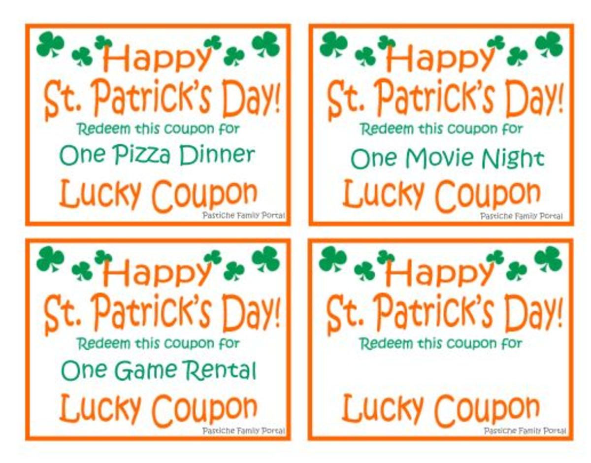 St. Patrick's Day Lucky Coupons Printable Sheet