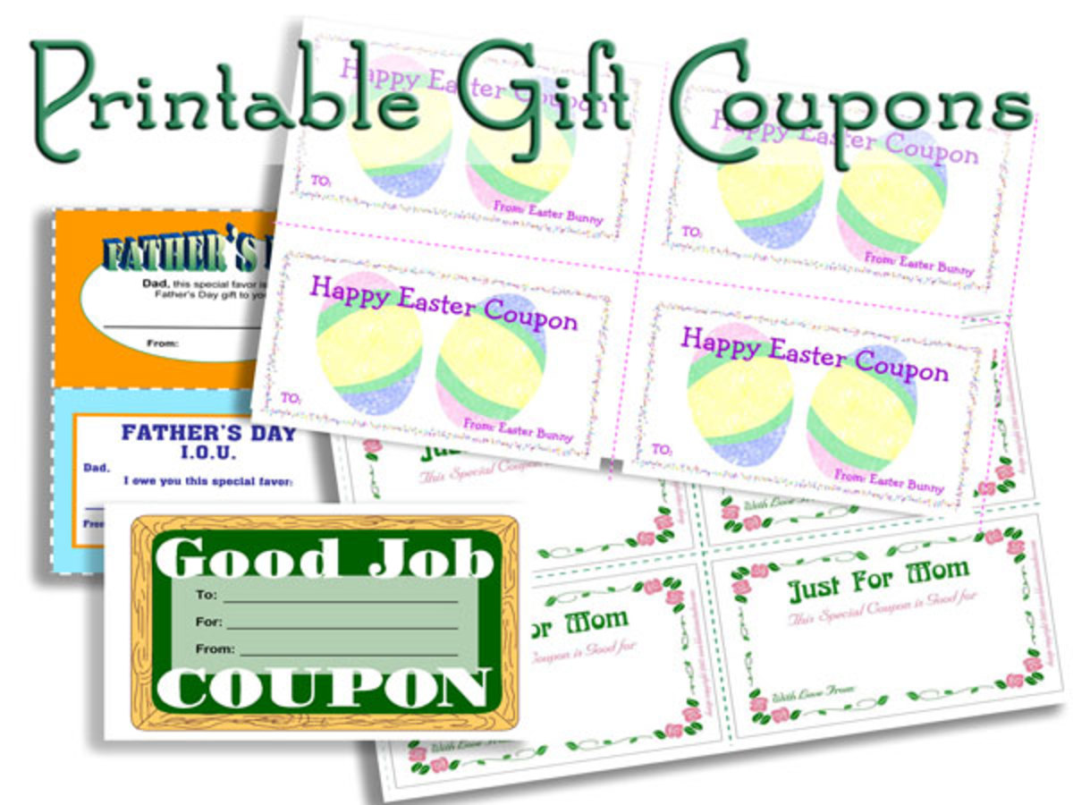 Printable Gift Coupons for Holidays, Classroom, Office Use