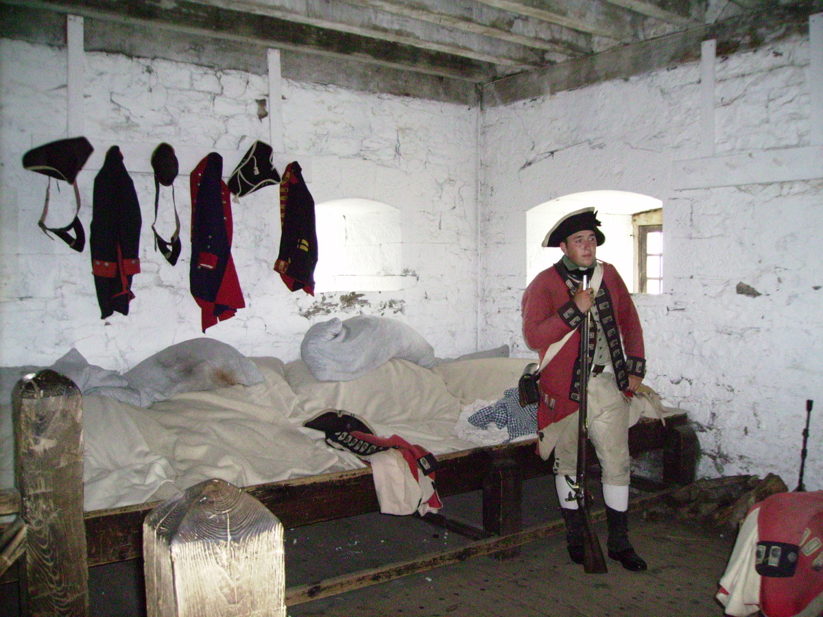 Actor dressed in uniform of an enlisted colonial soldier in French Castle in Old Ft. Niagara.