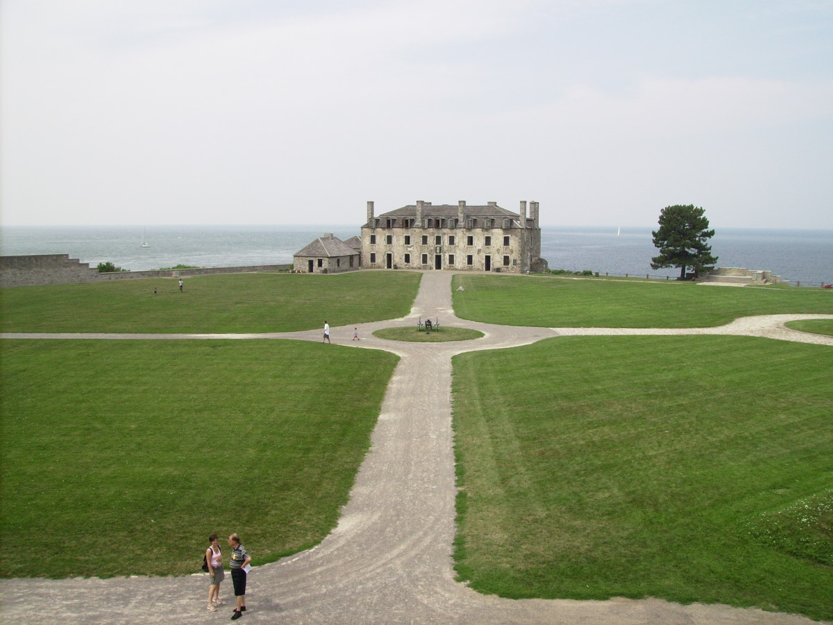 Parade ground in front of the French Castle where some have claimed to have seen the headless ghost of the young officer who lost the duel wandering around on dark nights.