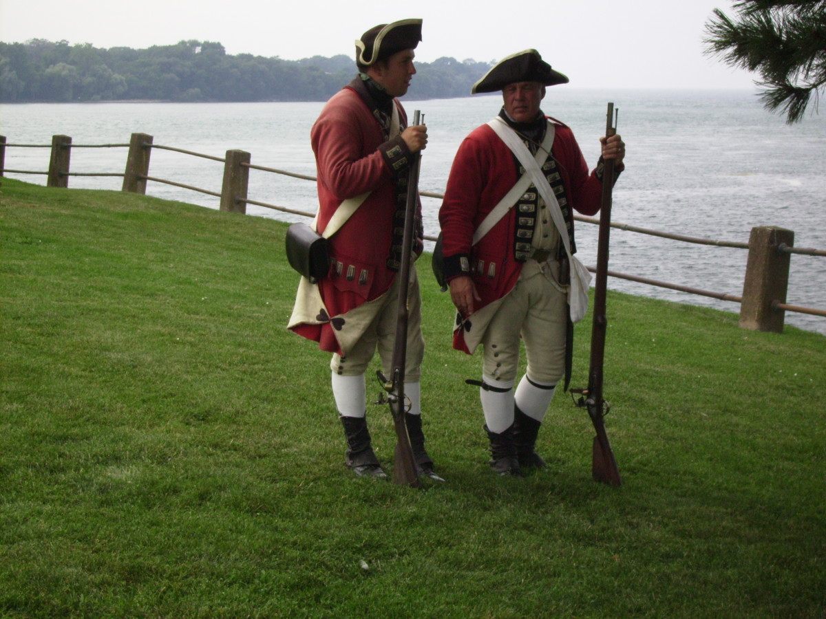Two Colonial era British soldiers at Old Ft. Niagara in Youngstown, New York