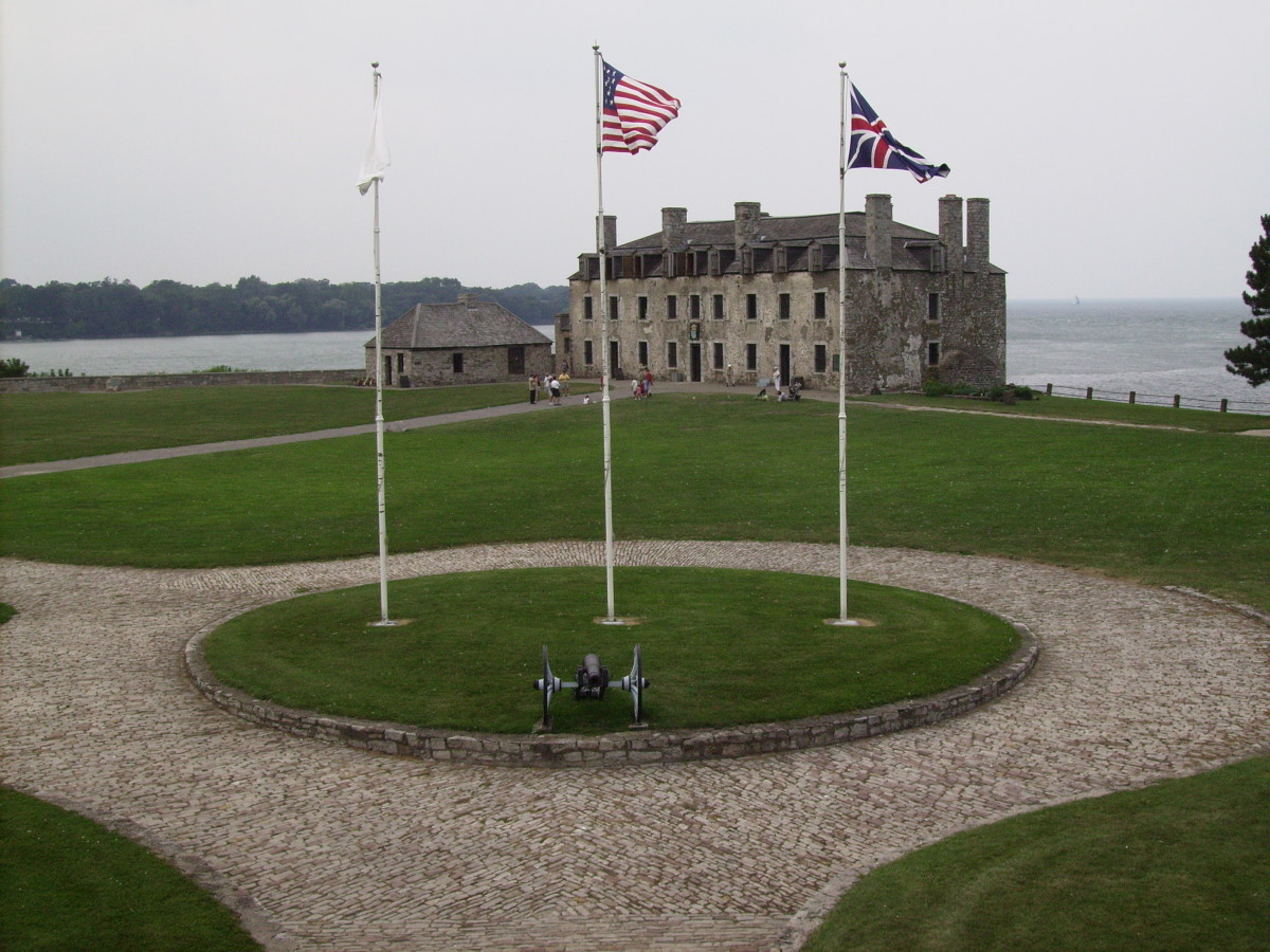 The Niagara River, into which the head was thrown, as it flows into Lake Ontario next to where the Fort stands.
