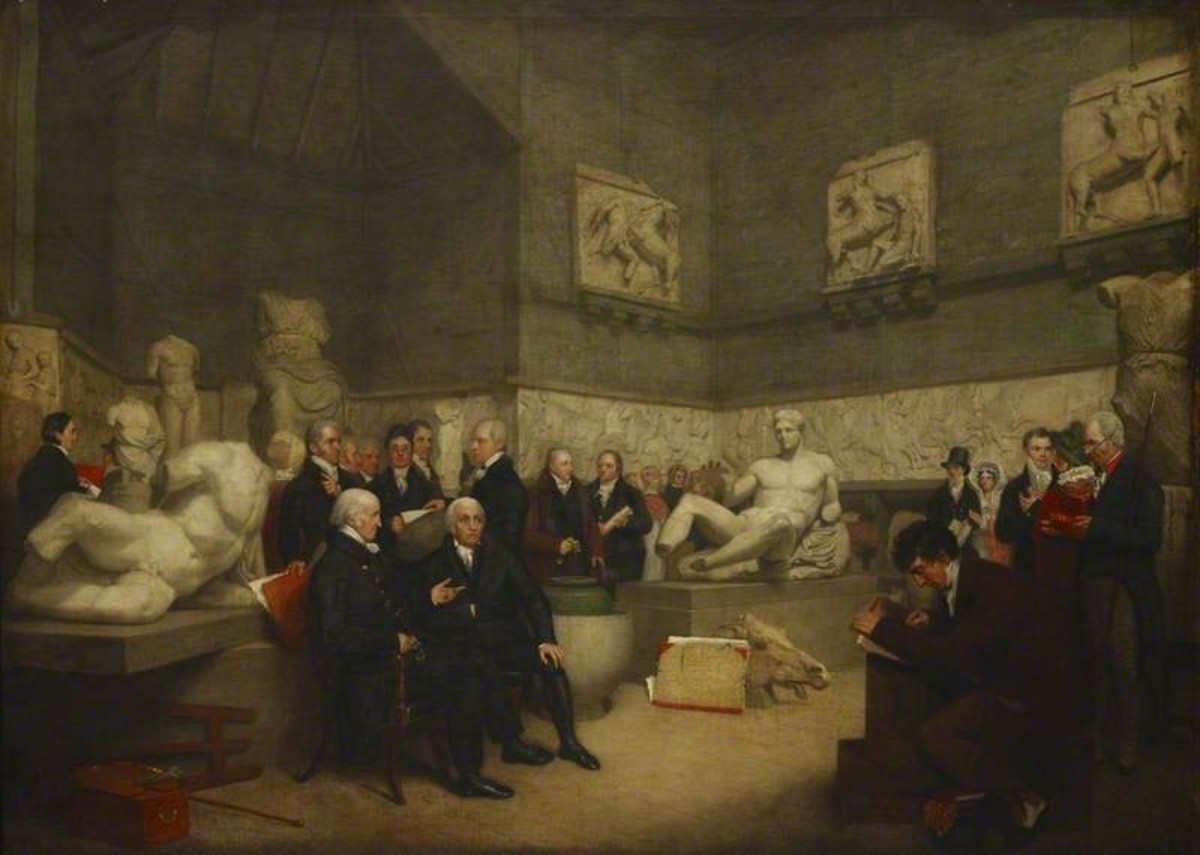 Part of the Elgin Marbles with museum staff in 1819.