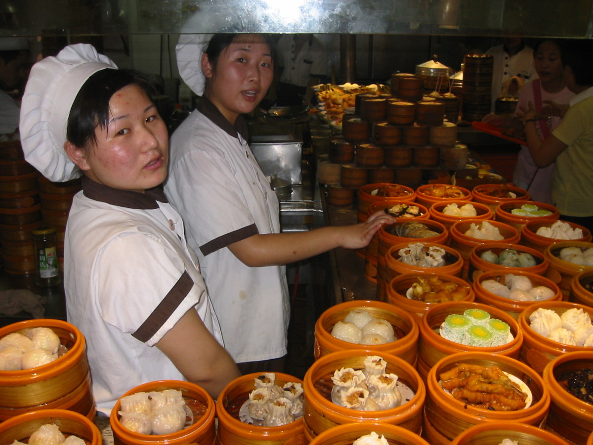 Dim Sum - different kinds of dim sum in bamboo steamers at a restaurant in Beijing