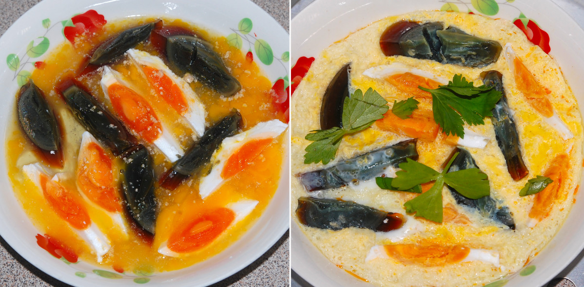 Three unique flavors from three kinds of eggs - preserved and salted duck eggs and hen eggs