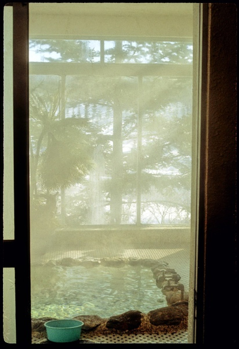 """Japanese baths, called an """"o-furo"""" -- feature prominently in Japanese films"""