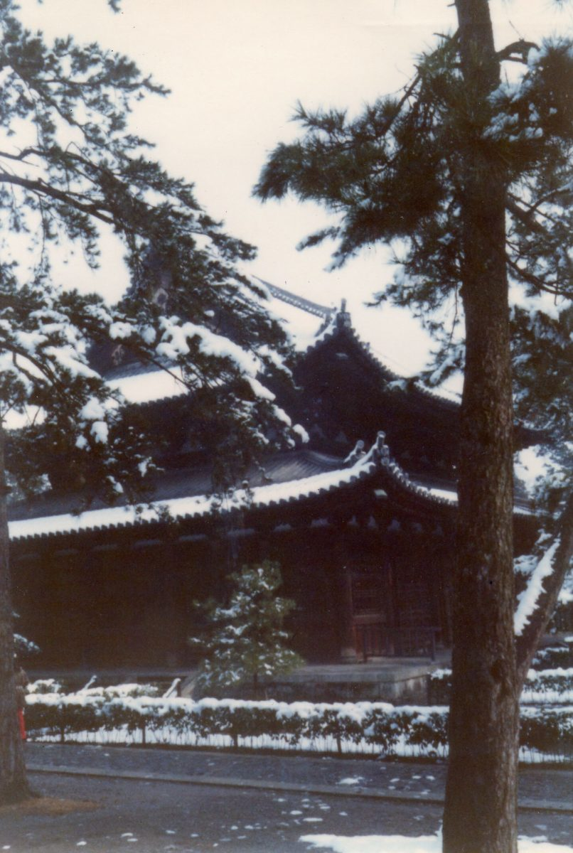 Samurai movies sometimes feature the setting during the winter. This scene is in Kyoto, Japan, during a December vacation.