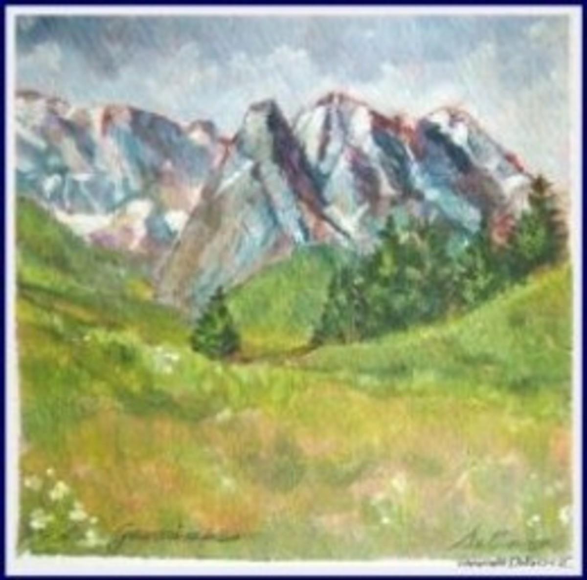 "My painting, acrylic wash 5"" x 5"" (C) Delia"