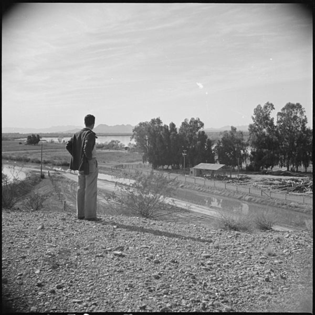 Poston, Arizona.  Overlooking a typical Arizona irrigation canal.