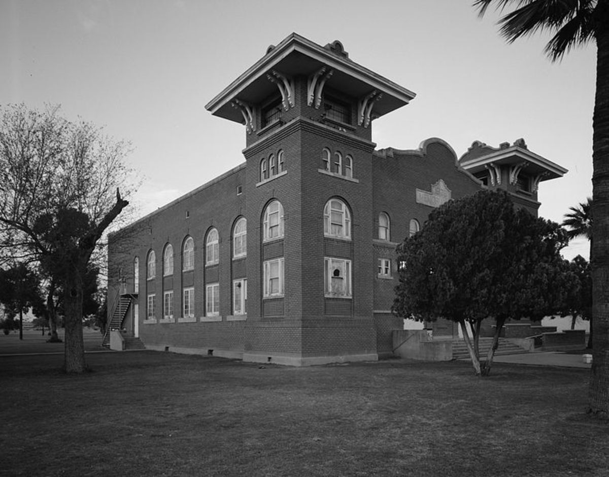 Front of Memorial Hall at the Phoenix Indian School, located at 300 E. Indian School Road in Phoenix, Arizona, United States. Built in 1922, the hall and other buildings at the school compose the Phoenix Indian School Historic District, which is list
