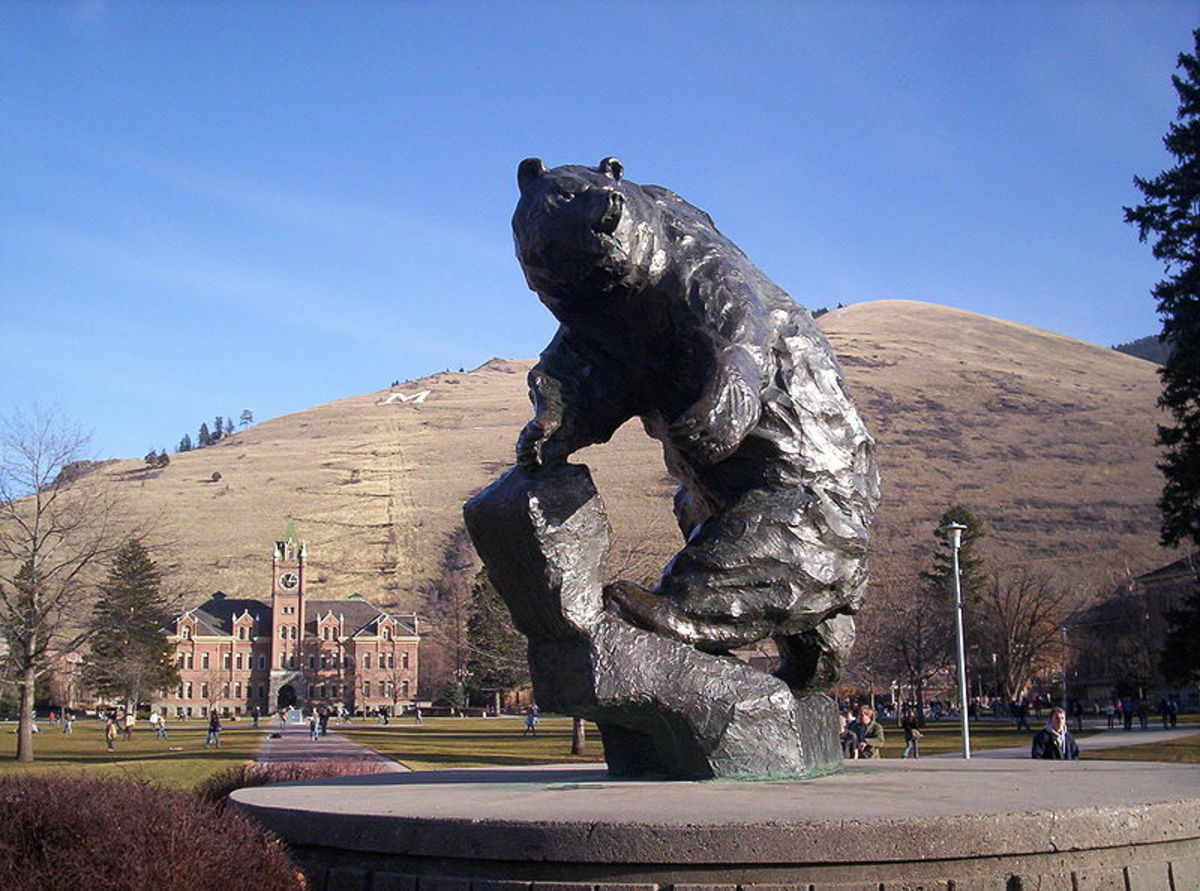 Sculpture on campus of the University of Montana.