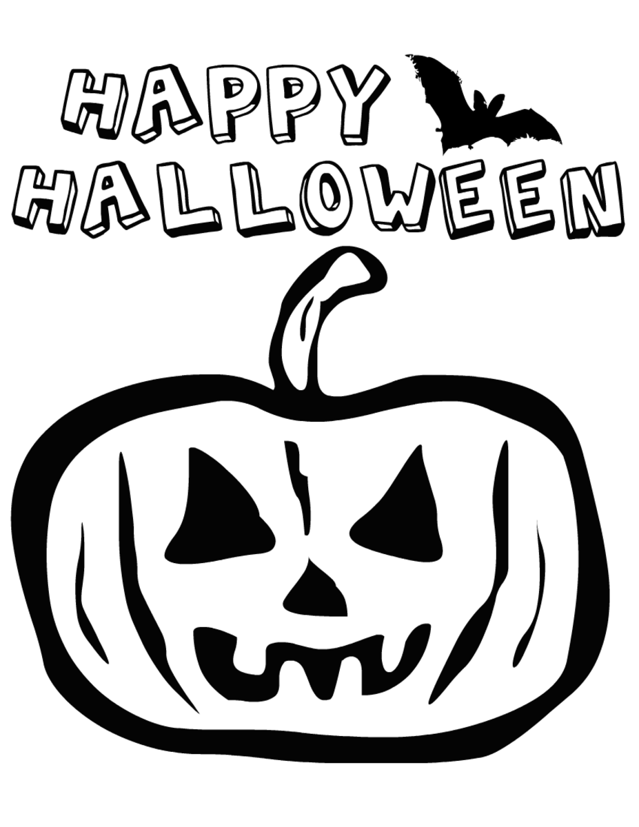 Halloween coloring pages: mean pumpkin