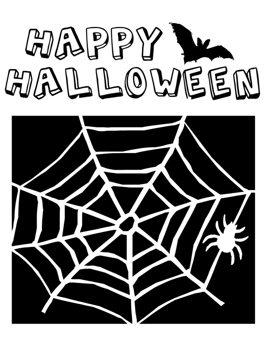 Halloween coloring pages: spider web